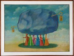 """Valter LEWY - """" Sem título """" óleo sobre tela, 78 x 105 cm. Assinado e datado no canto inferior direito, 1989. Moldura de madeira, 91 x 117 cm."""
