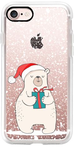 Casetify iPhone 7 Classic Grip Case - Cute Winter Polar Bear with Christmas Gift and Hat on a Blanket of Snow by BlackStrawberry #Casetify
