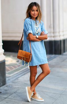 I love the casual styling of this denim shift dress.