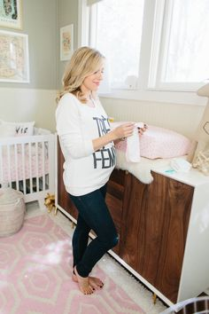 Love this pink patterned carpet for baby girl's nursery from The Glitter Guide.