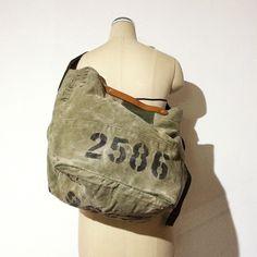 Vintage US Army duffle bag remake 2way bag IND_BNP_00077 W58cm H35cm D29cm