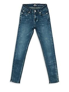 7 For All Mankind Girl's Skinny Faded Ankle Jeans