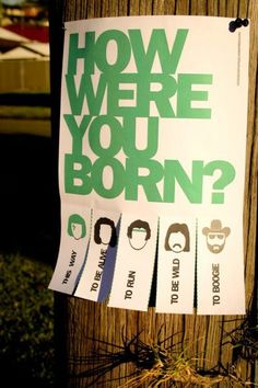 guerilla art: how were you born.  Funny for a book display if you can think of books to fit the categories here.