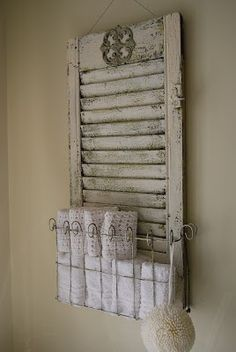 A shabby chic way to enjoy old shutters! New Ways With Old Window Shutters Shutters Repurposed, Shabby Chic, Home Projects, Diy Furniture, Diy Home Decor, Home Decor, Chic Bathrooms, Repurposed Furniture, Shutters