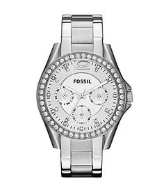 Fossil Riley Silver Glitz Crystal Detail Stainless Steel Bracelet Multifunction Watch #Dillards