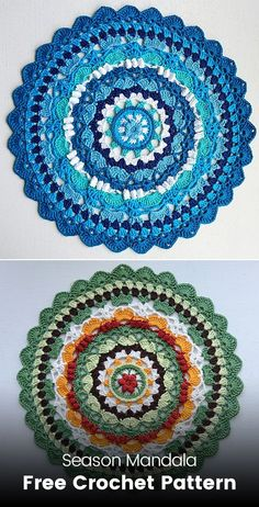 Season Mandala Free Crochet Pattern You are in the right place about Crochet videos Here we offer you the most beautiful. Crochet Diy, Crochet Quilt, Thread Crochet, Crochet Crafts, Crochet Stitches, Crochet Projects, Diy Crafts, Free Mandala Crochet Patterns, Crochet Mandala Pattern