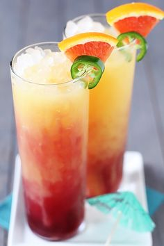 Spicy Tequila Sunrise  A delicious pomegranate, orange juice, and tequila drink with a spicy twist...1 ½-inch slice jalapeño pepper!  #tequila #beverages #cocktails