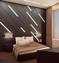 Modern bedroom design: Brown coloured wall with built-in leaning lights. Bedroom Furniture, Furniture Design, Bedroom Decor, Bedroom Ideas, Bedroom Wall, Furniture Makers, Mirror Bedroom, Master Bedroom Design, Modern Bedroom