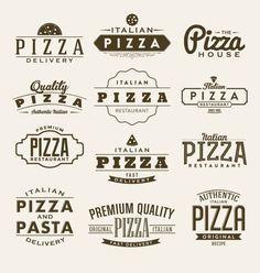 Colección de etiquetas de pizza Vector Gratis
