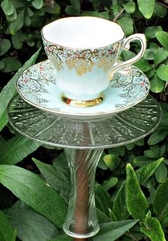 Garden Totem Stake Golden Grapes Teacup by GardenWhimsiesByMary, $28.00