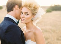 Glam wedding updo and makeup