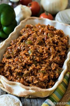 Texas Hash - A quick one-skillet meal the whole family will love! Made with ground beef, peppers, rice, tomatoes and chili powder.