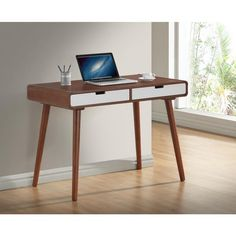 Baxton Studio Casarano Mid-century Dark Walnut and White Two-tone Finish 2-drawer Wood Writing Desk