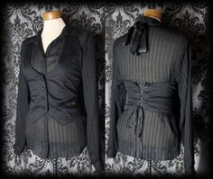 Gothic Black Lace Up RUE MORGUE Fitted Corset Waistcoat 8 10 Victorian Vintage - £29.00