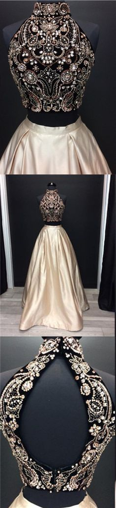 Crystal Beaded High Neck Open Back Prom Dresses Floor Length Satin Gowns For Evening