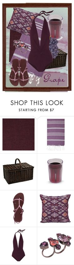 """Great Grapes"" by bindingspine ❤ liked on Polyvore featuring Retrò, DutchCrafters, Turkish-T, Picnic at Ascot, Havaianas, Karla Colletto and Lanvin"
