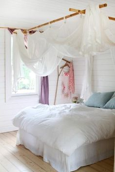 simple bed *I'd add some small white lights with crystals to canopy