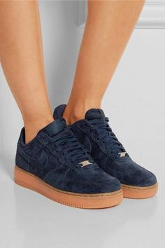Rubber sole measures approximately 30mm/ 1 inch Navy suede Lace-up front