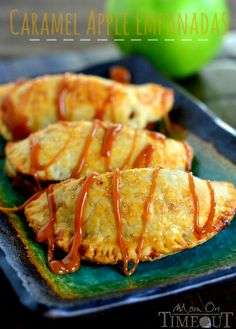 Caramel Apple Empanadas are the perfect way to get in a quick caramel apple fix without all the fuss!   MomOnTimeout.com #caramel #apple