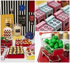 Fest decorada para tema Gastronomia com muitos itens de cozinha divertidos - Foto Ju Portugal, Equipe Suzane Sabbag