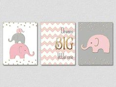 Gold Nursery Art, Pink Gray Gold Nursery, Baby Girl Elephant Nursery, Dream Big Little One, Pink Gold Nursery Decor, Faux Gold Foil Art by NauticalDecorShop on Etsy https://www.etsy.com/listing/121047352/gold-nursery-art-pink-gray-gold-nursery