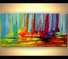Sail Boat Art Original Contemporary modern Abstract Seascape Painting On Canvas Colorful Palette Knife by Osnat 48x24