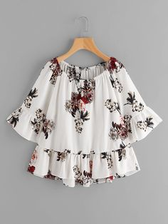 SheIn offers Random Florals Frill Trim Top & more to fit your fashionable needs. Kurti Neck Designs, Kurti Designs Party Wear, Blouse Designs, Teen Fashion Outfits, Girl Fashion, Girl Outfits, Fashion Dresses, Stylish Tops, Stylish Dresses