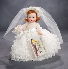 Madame Alexander, The Rodney Waller Collection: Part Two: 76 Alexander-Kins Wendy Bride in Lace Ruffled Gown, 1965 Antique Dolls, Vintage Dolls, Vintage Madame Alexander Dolls, Red Wigs, Glamour Dolls, Bride Dolls, Shabby, Ageless Beauty, Lace Ruffle