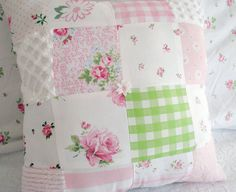 new princess pink & green patchwork PILLOW by vintageroseslove