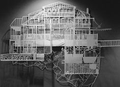 American artist Laura Cooperman documents her travels (homes, landscaping, etc) using hand-cut paper illustrations.