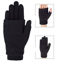 38766959e3f Women Winter Gloves Warm Removable Thick Knitted Lined Touchscreen Black   ILCaldo Winter Gloves