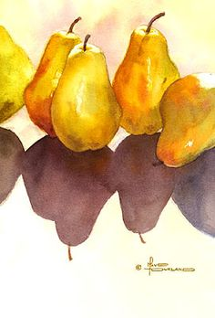 Beautiful Pear painted in Watercolors