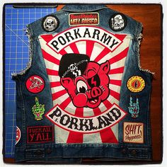 All patches sewn down! All of these patches are in the PORK SHOP except the middle finger (sold out), the Beer Drinker & Shit Happens (get those from @nightwatchstudios) and the Fuck All Y'all (custom patch by @dirtyneedleembroidery). #workinprogress #pat   Flickr - Photo Sharing!