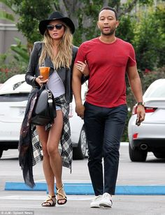 Regaining strength: Chrissy Teigen looked a little tired as she grabbed lunch with her husband John Legend at Fred Segal in West Hollywood on Sunday