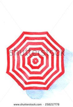 Watercolor umbrella on white