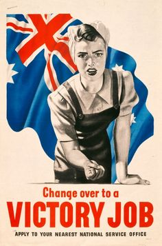 "This poster is again catered to women to help in the factories. They are sending the message that ""if you are working, you are an asset to the victory of the war. The American colours make this poster all the more patriotic representing dominant ideologies about American #SocietyandWar."