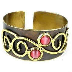 Bracelets 98480: Handmade Pink Tiger Eye And Scroll Brass Cuff BUY IT NOW ONLY: $42.99