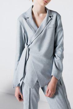 Light Gray Asymmetric Tied Blazer