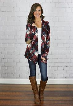 This plaid cardigan is everything you have been looking for! The colors are gorgeous and the suede elbows add the perfect touch!