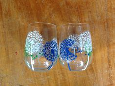 Hand painted wine glasses dandelion wishes