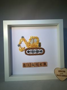 Framed Digger Button Art by Imaginewithbuttons on Etsy