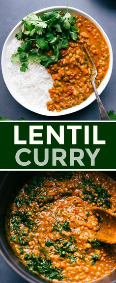 Lentil Curry is packed with seasoned veggies and tender lentils that have been simmered in fire-roasted crushed tomatoes and creamy coconut milk. #recipes #coconut #sweetpotato #vegan #creamycoconut #easy #indian #lentilcurry