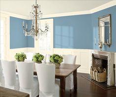 Look at the paint color combination I created with Benjamin Moore. Via @benjamin_moore. Wall: Labrador Blue 1670; Trim & Wainscot: White Vanilla 2017-70; Ceiling: Seashell 926.