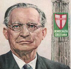Italian Premier Alcide de Gasperi 1953 TIME over art by Boris Chaliapin