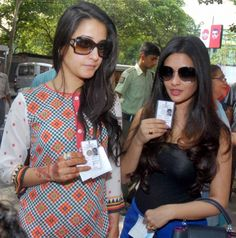 Raima Sen and Riya Sen arrive at a polling station to cast their votes for the last phase of Lok Sabha election, in Kolkata. #Style #Bollywood #Fashion #Beauty