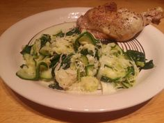 This is a very simple meal idea - roast chicken with leek, courgette and spinach.  Put the chicken portions in the oven and cook at 200 Celsius for about 45 minutes.   Add the sliced courgette and leek to a pan and cook in coconut oil until soft. Add some cream and then half a bag of spinach and cook for a few minutes more until the spinach has wilted.