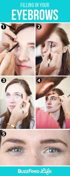 For thinner eyebrows, follow these guidelines for filling in with a pencil. If you prefer to use an eyebrow brush and powder, the same guidelines apply.