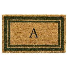 Momentum Mats Sage Green Border Monogram Doormat (1'6 x 2'6)