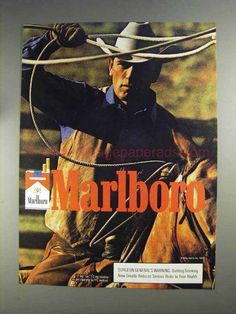 1991 Marlboro Cigarettes Ad -This is a 1991 ad for a Marlboro Cigarettes! The size of the ad is approximately The caption for this ad is 'Marlboro' The ad is in great condition. Marlboro Cowboy, Marlboro Man, Vintage Advertisements, Vintage Ads, Retro Ads, Free Coupons By Mail, Malboro, Vintage Cigarette Ads, Marlboro Cigarette
