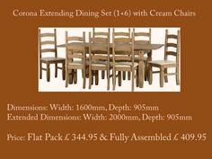 Corona Extending Dining Set 1+6 with Cream Chairs